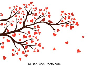 Tree branch with red hearts