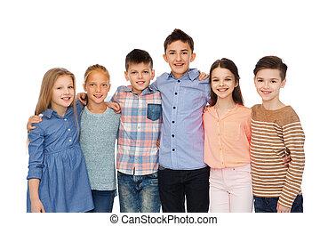 Lächeln, Kinder, Umarmen, glücklich