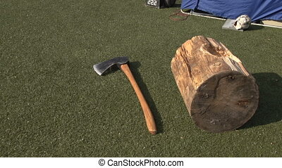 Axe on the grass next to the deck