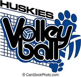 huskies volleyball team design with paw prints for school,...