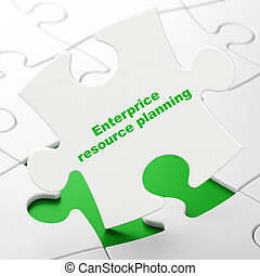 Business concept: Enterprice Resource Planning on puzzle background