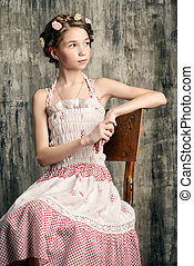 sundress - Vintage potrait of a beautiful girl with braided...