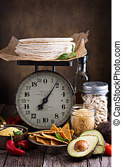 Ingredients for mexican cuisine on vintage scale