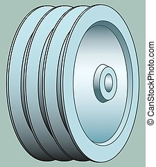 Pulley - Illustration of the triple groove pulley icon