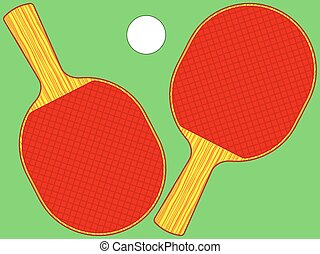 Rackets - Illustration of the rackets and ball set for table...