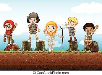 Children standing on logs illustration