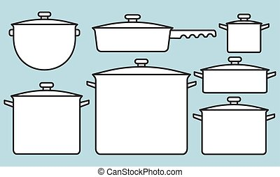 Saucepans set - Illustration of the saucepans collection