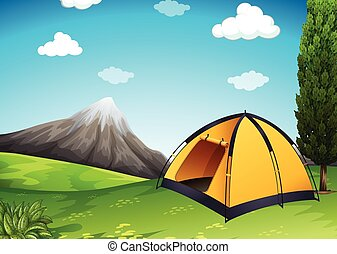Yellow tent at the campground illustration