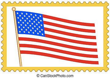USA flag on stamp - Flag of the USA on postage stamp