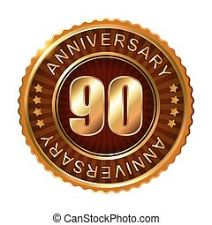90 years anniversary golden brown label. Vector...