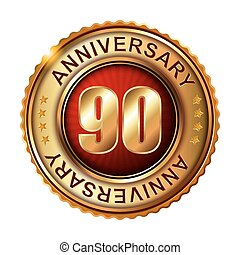 90 years anniversary golden label Vector illustration