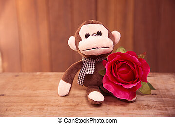 Bleu Monkey doll with red roses - Red roses with a teddy...