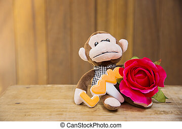 Happy Valentines Day - Signs of Love with stuffed monkeys...
