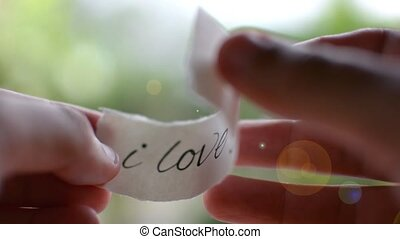 Hands closing love letter. Confession of love. Valentines...