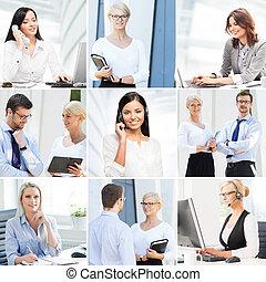 労働者, について, オフィス, ビジネス, コミュニケーション, コラージュ, コレクション, 写真