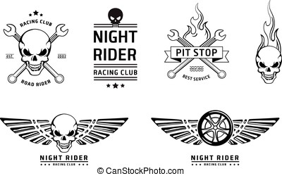 Racing skull emblems vector set on white