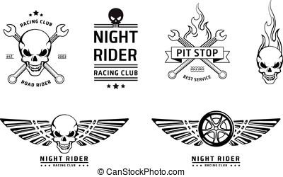 Racing skull emblems vector set on white