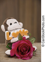 Valentine day - Signs of Love with stuffed monkeys and...