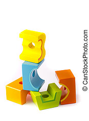 Wooden building blocks on white background