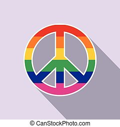 Peace symbol rainbow flat icon with shadow on the background