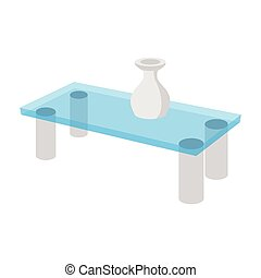 A glass coffee table with a vase cartoon icon