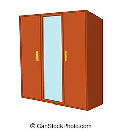 Wardrobe with mirror cartoon icon
