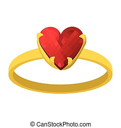 Gold ring with red heart gemstone cartoon icon
