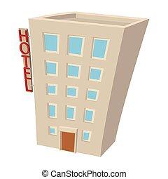 Hotel building cartoon icon