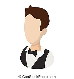 Waiter garcon cartoon illustration. Man avatar. Hotel symbol...