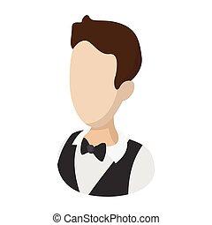 Waiter garcon cartoon illustration. Man avatar. Hotel symbol...