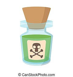 Glass bottle with poison cartoon icon