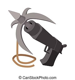 Gun with grappling hook cartoon icon on a white background