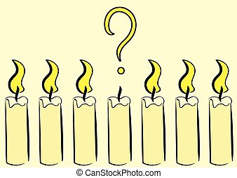 Extinct candle with a question - Candles with fire and one...