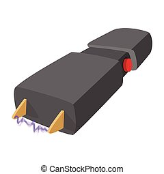 Taser self defense weapon cartoon icon on a white background