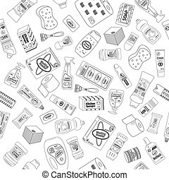 Seamless pattern of cleanser and washing, vector...