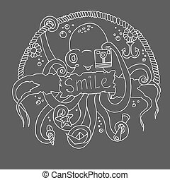 Cute smiling cartoon octopus with a camera.Vector...