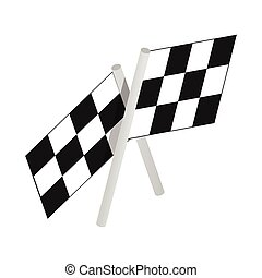 Chequered flags motor racing isometric 3d icon