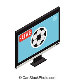 Football match on TV live stream isometric 3d icon