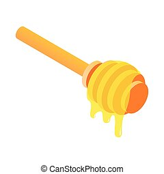 Honey dipper isometric 3d icon on a white background