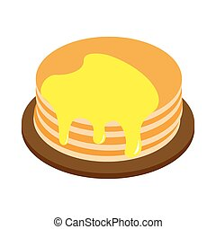 A stack of pancakes with honey isometric 3d icon