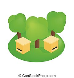 Wooden beehive in the forest isometric 3d icon