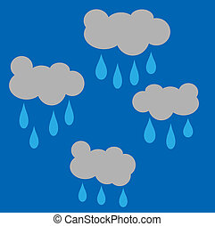 Rain clouds - a cartoon style illustration of rain clouds