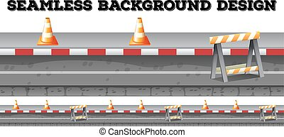 Seamless construction along the road illustration
