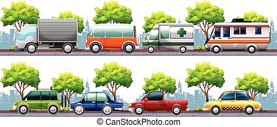 Different kind of transportations on the road illustration