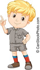 Little boy pointing his finger up illustration
