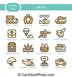 Set line icons of army isolated on white Vector illustration...