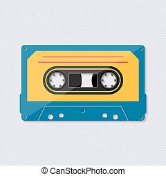 Retro music cassette tape icon colorful vector illustration