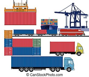 Container Transport Logistic.eps - Containers by truck and...