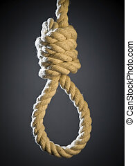 Noose - A hangman\\\'s noose over a gray background.
