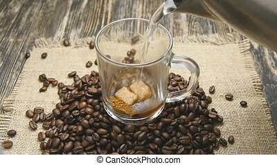 Pouring instant coffee in slowmotion - Preparing instant...